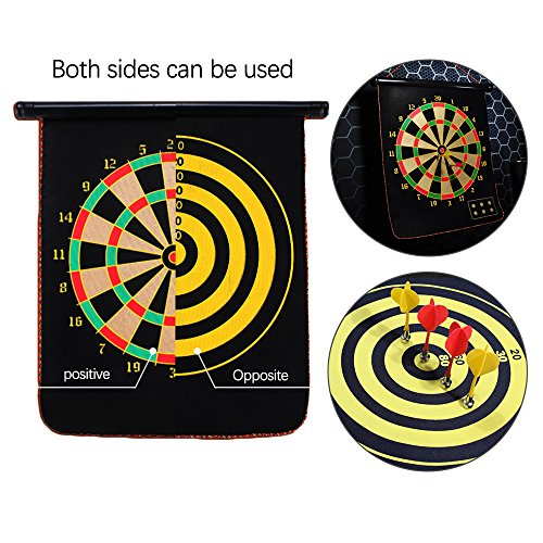 005 Ezyoutdoor 12 inches Double Sided Hanging Magnetic Traditional Dart Board 2 Targets with 4 Magnetic Darts Indoor Portable Travel Fun Gift For Children Adult Game by 005