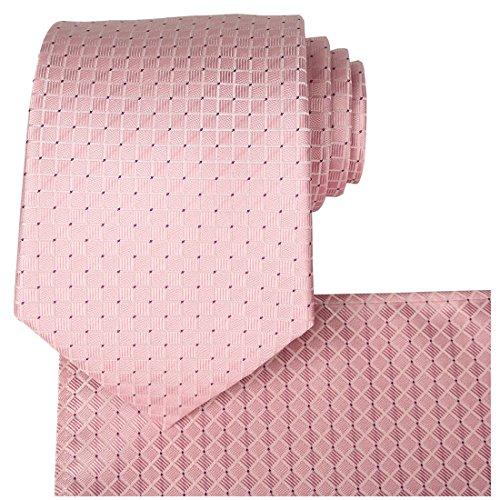 KissTies Rosy Pink Solid Tie Set Wedding Necktie + Pocket Square + Gift Box (Set Necktie Pink)