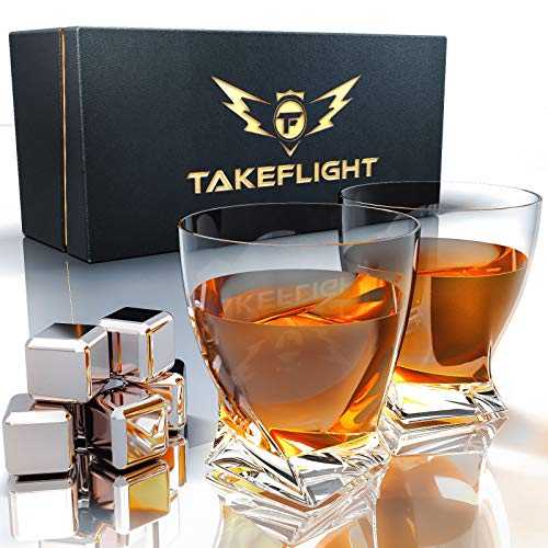 Whiskey Glasses and Stainless Steel Whiskey Stones - Premium Whiskey Glass Set, 2 Twist Style Glasses for Scotch or Bourbon in Gift Box | Bar Set for Man Cave, Gift for Man or Woman