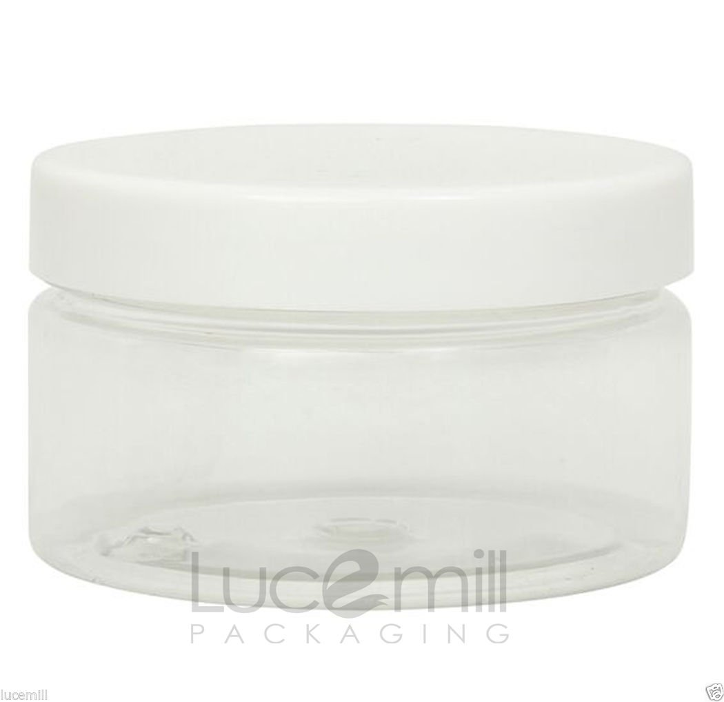 25 x 100mL CLEAR PLASTIC PET COSMETIC SQUAT JARS with WHITE SCREW LIDS for Creams/Liquids/Make Up/Travel/Oils Lucemill Packaging