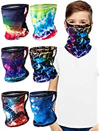 6 Pieces Kids Face Bandana Ear Loops Neck Gaiters Face Cover Scarf
