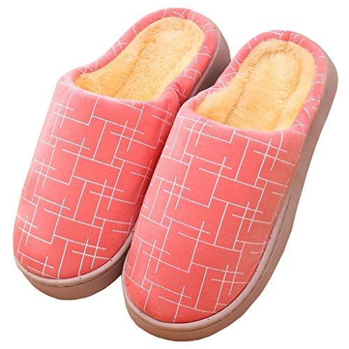 Eagsouni® Warme Hausschuhe Indoor Startseite Slipper, Weiches Plüsch Hausschuhe Winterschuhe Herbst Winter Flip Flops Slipper für Herren Damen Pink