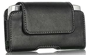 Bloutina Black Stitched Lanscape Leather Case Built In Swivel Clip And Small Flap Closure For Iphone 5C