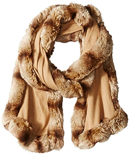BADGLEY MISCHKA Women's Knit Wrap with Faux Chinchilla Trim, Camel/Almond, One Size