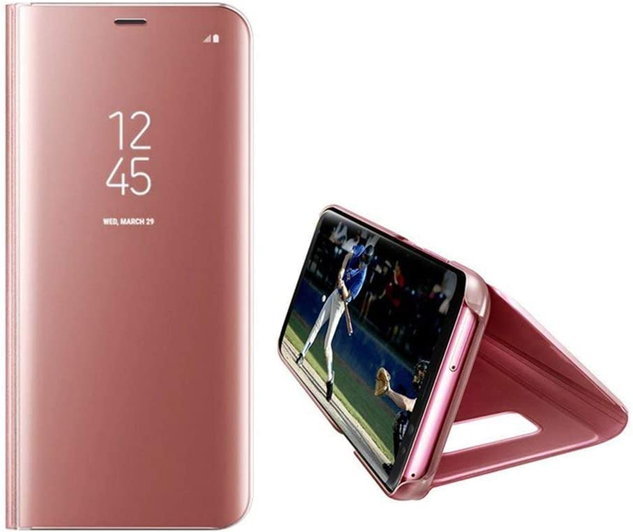 Uposao Compatible with Huawei P30 Pro Mirror Leather Case Bling Clear View Electroplate Plating Mirror Flip Wallet Case Cover Ultra Slim Shockproof Protective Case,Rose Gold