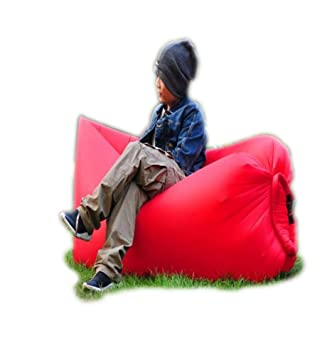 Saco de dormir hinchable Trumpo, con diseño de tumbona con nailon impermeable para verano, rojo: Amazon.es: Deportes y aire libre