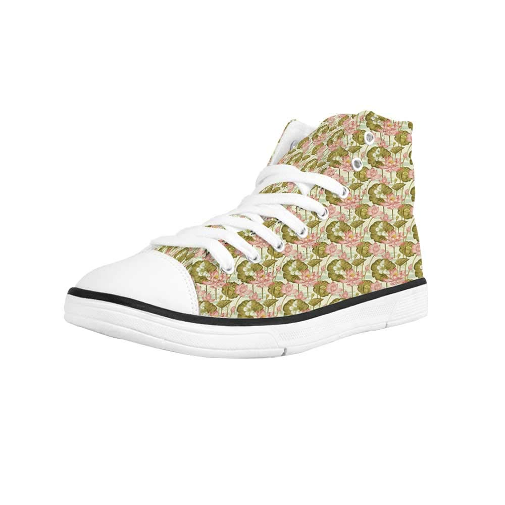 Asian Comfortable High Top Canvas ShoesBengal Tiger with Frame and Geometrical Elements Eastern Inspirations Beast of Jungle for Women Girls,US 5