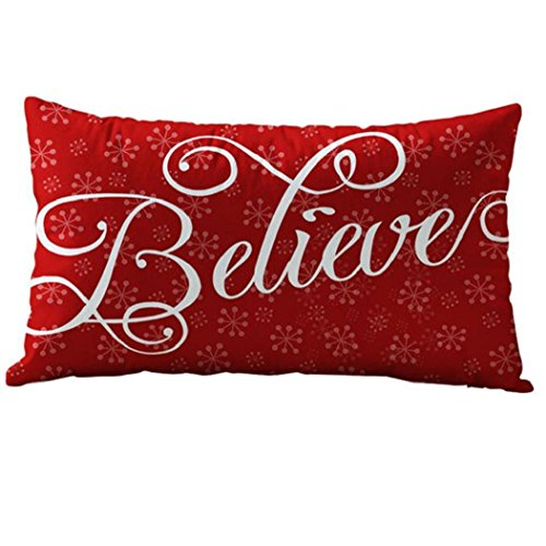 VIASA Christmas Rectangle Cotton Linter Pillow Cases Cushion Covers (F)
