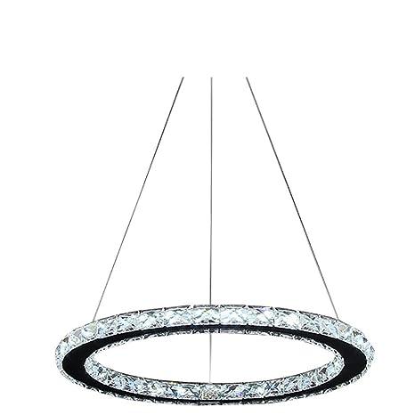 Lonfenner Lámpara de techo de cristales brillantes, en acero inoxidable con 3 líneas (30 cm)
