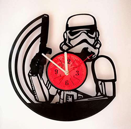 Star Wars Stormtrooper Wall Clock Made from 12 inches / 30 cm Vintage Vinyl Record | Star Wars Gift for Men Boys Husband | Star Wars Stormtrooper Clock | Star Wars Merchandise