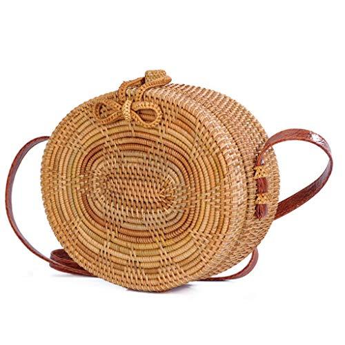 Women's Bag, Rattan Bag - Single Side - Sun Flower - Oval - Crossbody - Beach Bag Floral Lining - Hand-Woven Bag by BHM (Image #1)