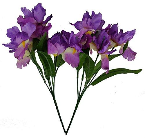 MM TJ Products Artificial Iris Bush: 5 stems Pack of 2 (L/Purple)