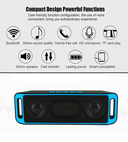 NEWBEING S5 Wireless Bluetooth Speaker, Outdoor Portable Stereo with HD Audio and Enhanced Bass, 12 hours Working, Handsfree Calling, FM Radio and TF Card Slot(Blue) by NEWBEING (Image #2)
