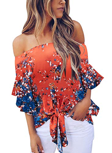 (Dellytop Womens Off The Shoulder Tops Foral Summer Short Sleeve Tie Front Blouses Loose Shirts)
