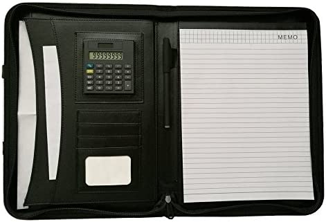 Professional A4 Conference Folder for Interview Meeting Travel Zippered Portfolio with Semi-Circular Carry Handle Premium PU Leather Business Padfolio with Calculator//Writing Pad//Notepad Black