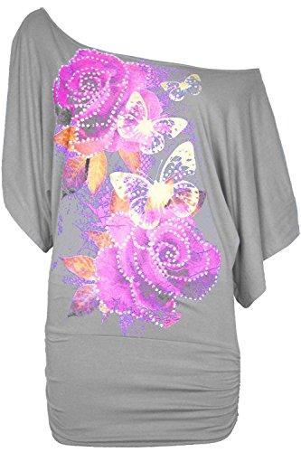 Oops Outlet Femmes Floral Roses Papillons Paillette Émaillé Surdimensionné / Ample Épaule Découverte Bardot Manche Chauve-souris T-shirt Haut Grandes Tailles - Gris, M/L EU 40/42