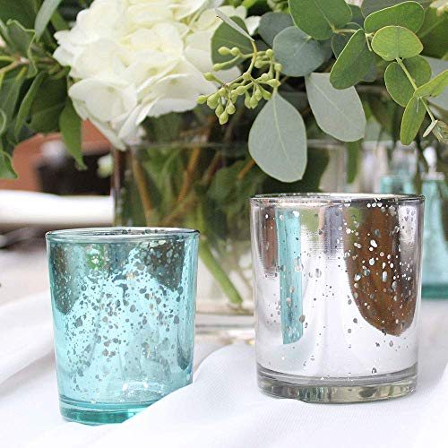 Just Artifacts Mercury Glass Votive Candle Holder 2.75'' H (72pcs, Speckled Aqua) - Mercury Glass Votive Tealight Candle Holders for Weddings, Parties and Home Décor by Just Artifacts (Image #3)