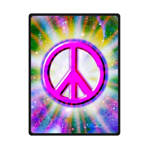 Peace Sign Painting Soft Fleece Travel Blankets Throws - 58 by 80 - Fleece Sign Peace