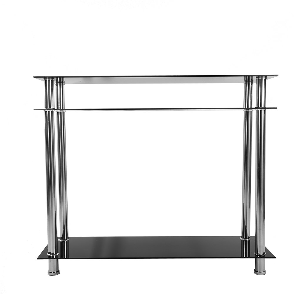 3 Tier Glass Console Table with Chrome Legs, Narrow Side Table for Living Room, Hall Entryway Table, Hallway Furniture, Black WEIBO
