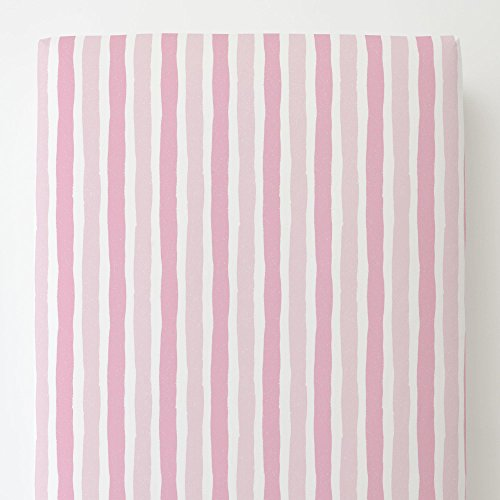 Carousel Designs Bubblegum Pink and Pink Weathered Stripe Toddler Bed Sheet Fitted by Carousel Designs