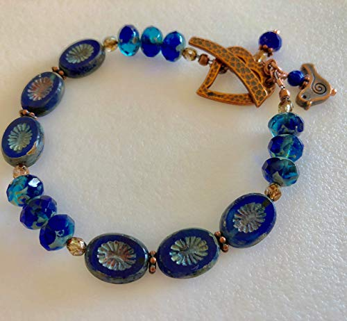 Sapphire Blue Czech Glass Bracelet, Premium Czech Glass, Rustic Picasso Glass, Hammered Heart Bracelet, Copper Heart Toggle Clasp, Bird Charm, Boho. ()