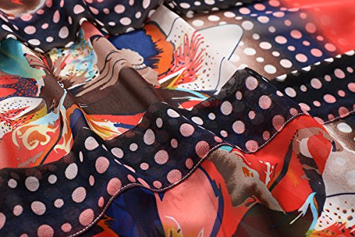 WEIYAN Women's Summer Tops Loose Chiffon Kimono Cardigan Blouse (Big Flower, M) by WEIYAN (Image #6)