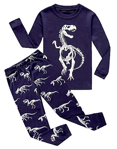 Dinosaur Little Boys Long Sleeve Glow-in-The-Dark Pajamas Sets 100% Cotton Clothes Toddler Kids Pjs Size 5 -