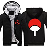 HOLRAN Anime Naruto Uchiha Sharingan Thicken Jacket Cosplay Hoodie (BlackGrey Large)