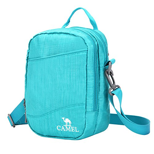 CAMEL CROWN Multi Pockets Crossbody Bag Duffel Gym Travel Shoulder Messenger Bags Pack Organizer for Men and Women Color Turquoise