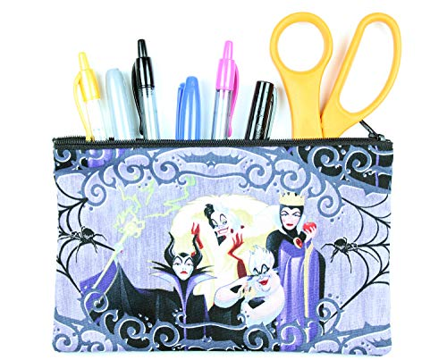 Maleficent, Ursula, Cruella de Vil, and Evil Queen Disney Villain Fabric Pencil Case or Cosmetic Bag - 8