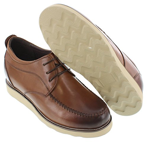 Calto G65192-3.2 Inches Taller - Height Increasing Elevator Shoes - Brown Casual Shoes