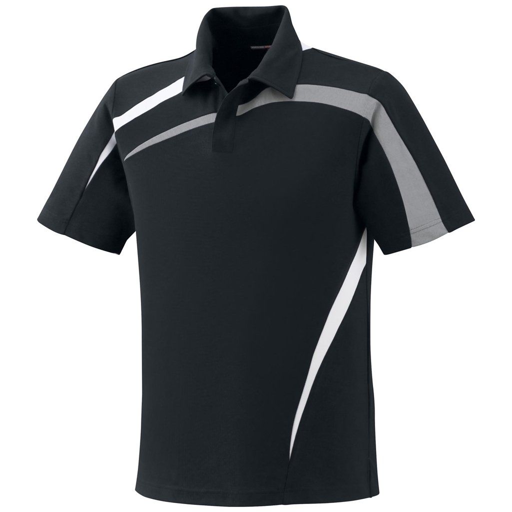 Ash City Mens Impact Pique Color Block Polo (Small, Black/Grey Luster/White)