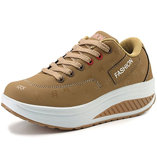 Orlancy Women's Fashion Leather Platform Lace-up Sneakers Walking Shoes Fitness Sports Shoes Khaki