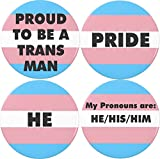 "Set 4 Proud to be a TRANS Man Transgender Flag Pronouns Pride 1.25"" Buttons Pins"