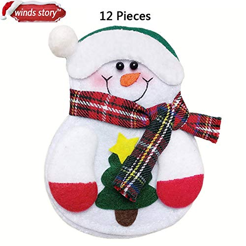 VietHandmade Pendant & Drop Ornaments - Christmas Decorations Snowman Kitchen Tableware Holder Bag 12pcs Party Gift Xmas Ornament Christmas Decorations for Home Table 1 PCs
