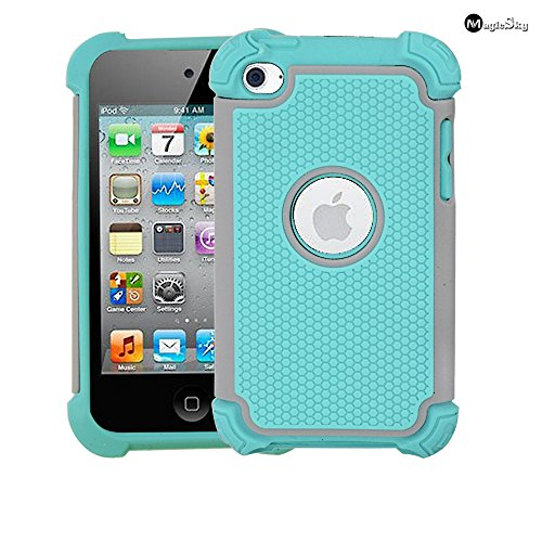 iPod 4 Case, MagicSky Shock-Absorption/Impact Resistant Bumper Slim protective Case Cover (Hard Plastic Outer + Rubber Silicone Inner) for iPod Touch 4th Generation - 4 Generation Cases