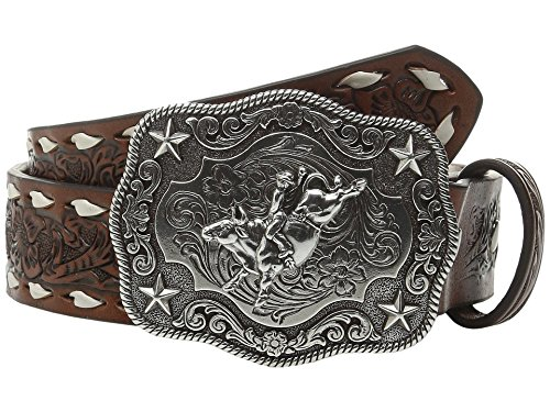 Nocona Boy's Rodeo Bull Rider Motif Buckle Belt, Tan, 26