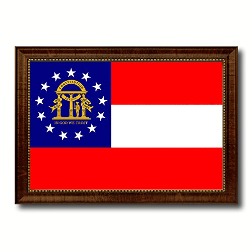 (Georgia State Flag Canvas Print with Brown Picture Frame Home Decor Wall Art Decoration Gift Ideas 19