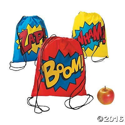 Superhero Drawstring Backpacks  12 ct