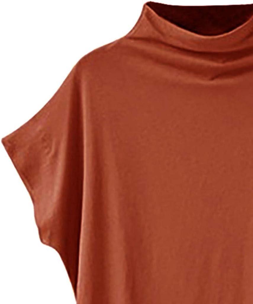 Nevera Women Shirts Turtleneck Short Sleeve Blouse T Shirt Casual Loose Tunic Tops Plus Size
