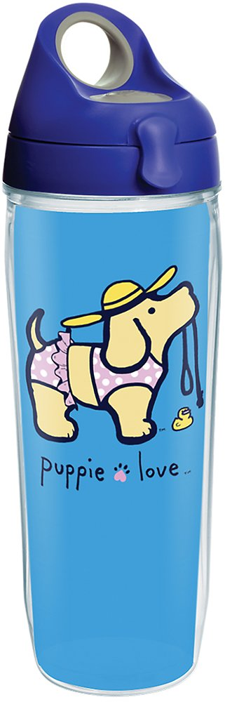 Clear Tervis 1288766 Puppie Love Bikini Puppy Tumbler with Wrap and Blue with Gray Lid 24oz Water Bottle