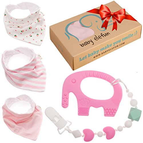 Christmas Gifts For Baby Girls - Unique Matching Set of Teether Pacifier Clip, Elephant Teething Toy and 3 Pack Bandana Drool Bibs 100% Safe BPA Free Silicone, Best for 0 3 6 Months Old Infant Newborn (Unique Baby Girl Gift Baskets)