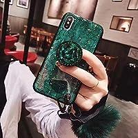 SevenPanda Samsung S8 Plus Case Ständer, Luxus Fellknäuel Weich Gummi Stoßstange Bling Diamant Glitter mit Airbag Ständer Halter/Handschlaufe für Mädchen (Grün, Samsung Galaxy S8 Plus 2017)
