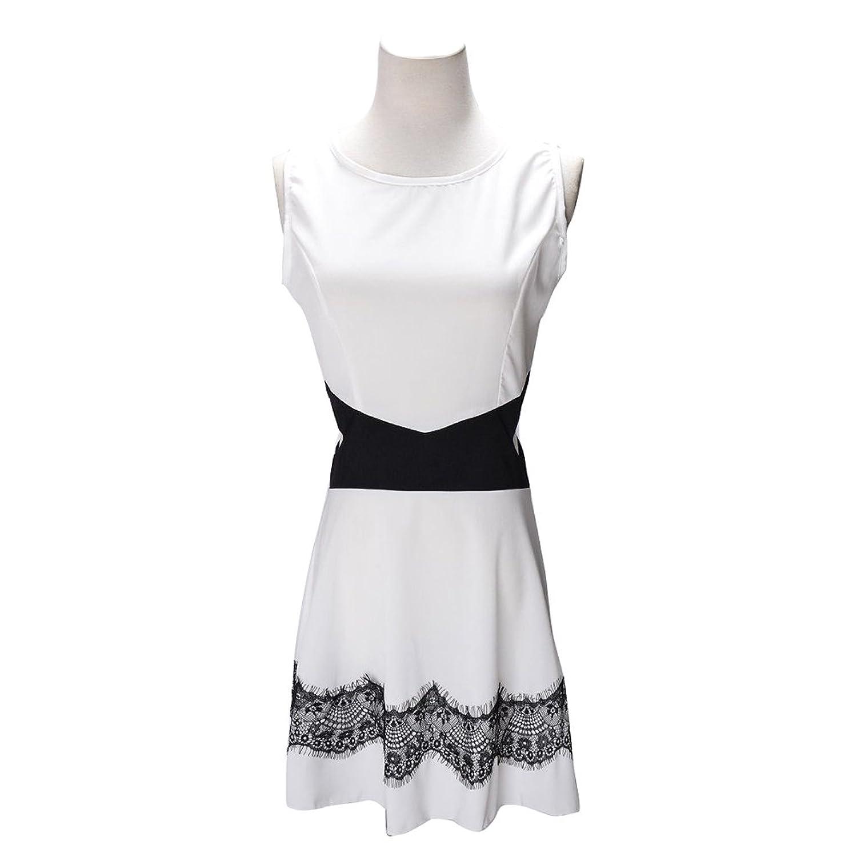 Damen Sexy Hohe Taille Rückenfrei Partykleid Sommerkleid A-Linie Kleid