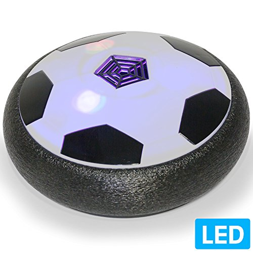 (Air Powered Electric Soccer Football Disc Ball Toy WithLED Lights For Indoors & Outdoors Soft Padded Rubber Foam Protector Use As Hover Hockey Disc, Gliding Ball Or Kicking Play Ball)