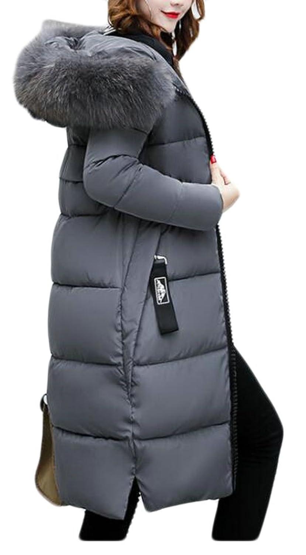 BU2H Womens Down Jacket Winter Long Parka Coat Raccoon Fur Hoodie free shipping