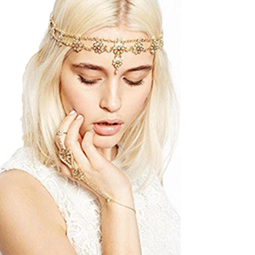 [Usstore 1PC Headwear Tassel Flower Stretch Headband Hair Band Crystal Hair Chain Gold] (Flapper Girl Costume For Adults)