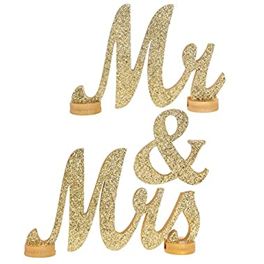 Ling's moment LARGE VINTAGE Champagne Glitter Mr & Mrs Wooden Letters for Wedding Decoration, NO GLITTER FALLING OFF