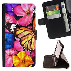 - BLOSSOMS NATURE BUTTERFLY FLOWERS GARDEN ART - - Prima caja de la PU billetera de cuero con ranuras para tarjetas, efectivo desmontable correa para l Funny HouseFOR LG G3