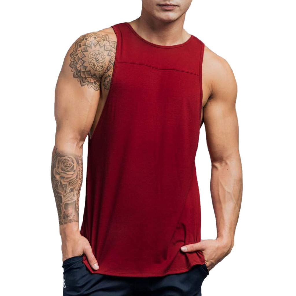 Hosamtel Men Tank Top T-Shirt Sleeveless Solid Casual Bodybuilding Sport Muscle Gym Workout Fitness Loose Fit Vest Tops Wine